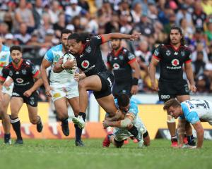 Bunty Afoa of the Warriors makes a break during their win over the Gold Coast Titans this...