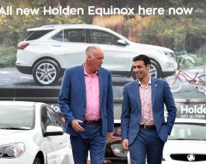 Holden dealer principal Guy Smith, left and GM managing director Kristan Aquilina visits Cooke...