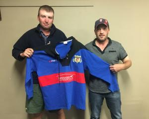 Owaka Rugby Club 125th jubilee committee president Ben Peter (left) and club president Sam...