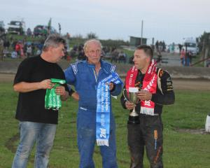 Greymouth driver Steve Thompson left, who won the South Island modified title on Saturday night, ...