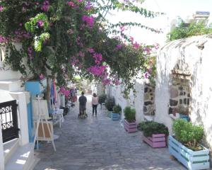 The bougainvillea-emblazoned village of Halki. PHOTO: MIKE YARDLEY