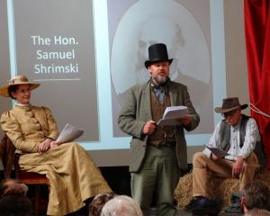Sarahann Du Plooy, as Hope, Don Speden as Samuel Shrimski and Mike Gray as a swagger, act out a...