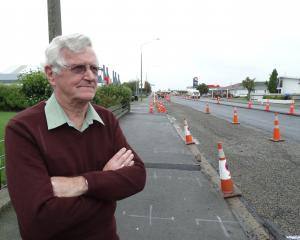 Oamaru man Noel Bradshaw is frustrated by noise and delays completing road works being carried...