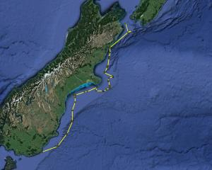 A plotted map shows the progress of Takaraha on Thursday night. PHOTOS: UNIVERSITY OF OTAGO