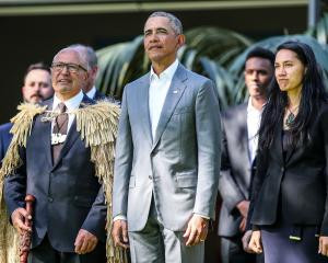 Barack Obama attends a powhiri at Government House in Auckland. Photo: Getty Images