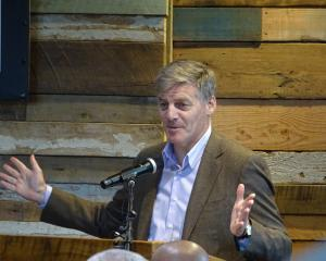 Former prime minister Bill English speaks at the official opening of Camp Glenorchy yesterday, on...