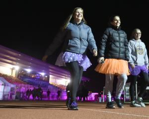 Keep on moving ... Taieri College pupils (from left) Rachel Irvine (17), Samantha Aitcheson (17)...
