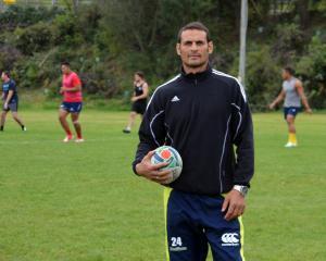 New Harbour coach Ryan Nicholas attends training at Moller Park last night. Photo: Jonny Turner