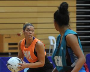 Silver Ferns goal attack Grace Kara (nee Rasmussen) controls the ball as Southern Steel goal keep...