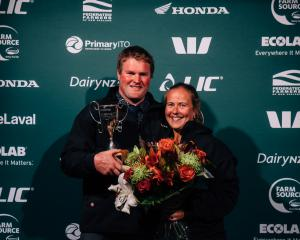 Share farmers of the year Simon and Hilary Vallely at the Southland-Otago Dairy Industry Awards....