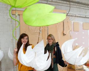 Autumn Lights festival artistic director Hannah Johnston (left) and lantern artist Sharon Jones...