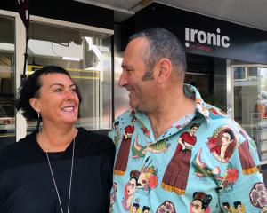 Ironic Cafe and Bar co-owners Sue Moller and Steve Wilson outside their new business venture in...