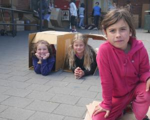 St Peter Chanel School year 4 pupils (from left) Rebecca Ramsay (8), Christiana Jaquiery (8) and...