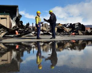 The scene of the Central Otago Wastebusters fire. Photo: Gerard O'Brien