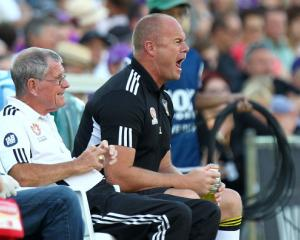 Wellington Phoenix coach Chris Greenacre gets animated during the clash between the Phoenix and...
