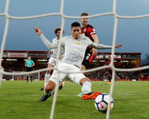 Manchester United's Chris Smalling scores their first goal against Bournemouth. Photo: Reuters