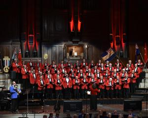 The RSA Choir performs at the Dunedin Town Hall last night in the Anzac Revue. PHOTO: GREGOR...