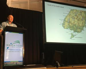 Kyeburn Catchment Ltd director Hamish McKenzie speaks at the Irrigation New Zealand conference...
