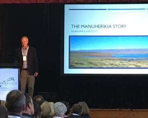Manuherikia Catchment Water Strategy Group chairman Allan Kane speaks to Irrigation New Zealand...