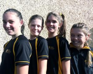 Go getters . . . Wanaka pupils (left) Saffron Millar (12), Ava Hay (12), Melia Brett (12), and...