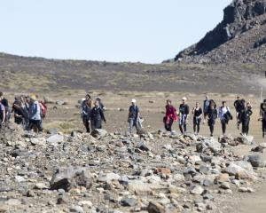 Visitors crown the track in the southern crater of the Tongariro Crossing in February last year....