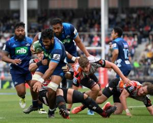 Akira Ioane on the charge for the Blues against the Sunwolves at the weekend. Photo: Getty Images