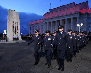 Defence personal and War Veterans take part in Anzac Day commemorations at Auckland War Memorial...