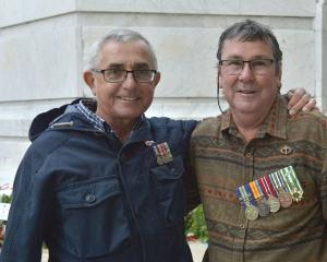 Australian Vietnam War veterans Jim Weston (left) and Pete Frost at yesterday's dawn service at...