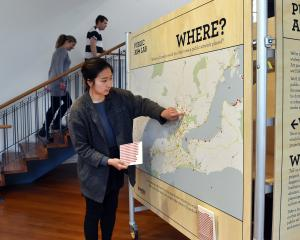 Dunedin Public Art Gallery customer liaison officer Dana Lee looks at a map on which the public...