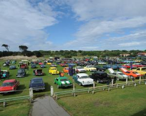 Cars on display at Tahuna Park during the annual Great USA Day.PHOTO: ODT FILES