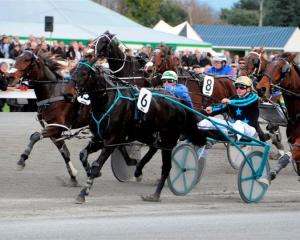Carabella (Ricky May) wins the Harness Jewels at Ashburton at her last start. Photo by Tayler...