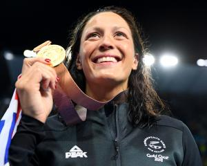 Gold medallist Sophie Pascoe poses during the medal ceremony for the Women's SM10 200m Individual...