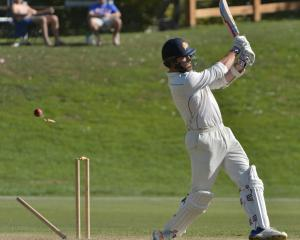 Otago lower-order batsman Michael Rae is bowled during a Plunket Shield match against Canterbury...