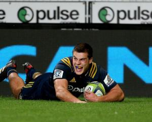 Dillon Hunt scores a try for the Highlanders earlier this year. Photo: Getty Images
