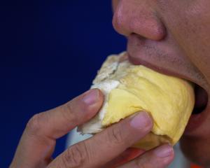 Thai man eating durian. Photo: Reuters