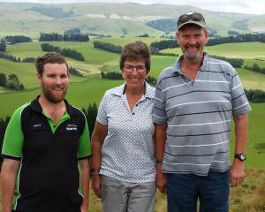 Waipahi sheep farmers Logan, Alexa and Ross Wallace at home on the farm. Photo: Supplied