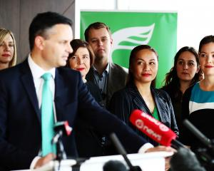 Marama Davidson listens to co-leader James Shaw at the party re-launch last year. Photo: Getty...