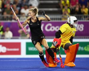 Stacey Michelson celebrates during the Black Sticks' successful Commonwealth Games campaign....