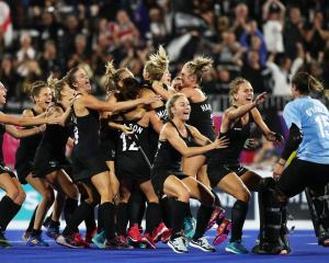 The Black Sticks celebrate their historic semi-final win over England. Photo: Getty Images