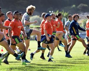 The Highlanders go through some exercises while training at Logan Park earlierthis week.PHOTO:...