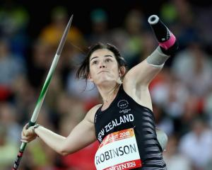 Holly Robinson throws during the F46 para-javelin at the Gold Coast Commonwealth Games. Photo:...