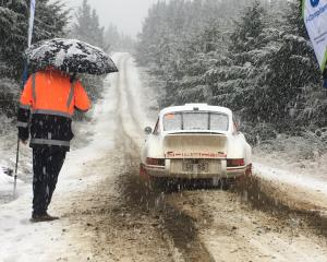 Rally of Otago contestants encountered snow during practice runs from the Bull Ring below...