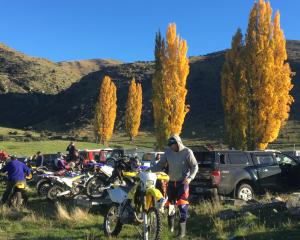 Riders unload their bikes and prepare to head into the hills for the ride. Photos: Mark Price