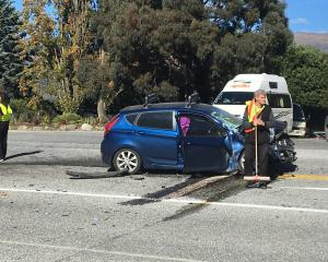 The car involved in a crash with a truck outside Puzzling World, Wanaka, yesterday. PHOTO: MARK...
