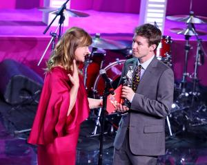 Kieran Charnock, who featured in the film Stray, was presented with his award by Nastassja Kinski...