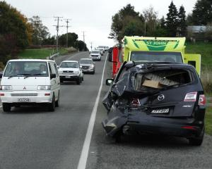 A northbound Mazda MPV that had been travelling north on  SH1 incurred  significant damage after...