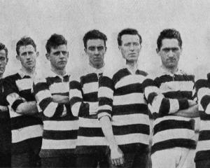 Some of the Otago football team, which beat a team of soldiers from the 39th Reinforcements at...