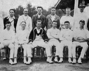 Otago beats Canterbury. Back: D. Smyth (ump), A.W. Alloo, A. Galland, W.A. Hay, F. Hutchison, T....