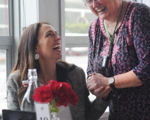 Former broadcasting minister Marian Hobbs meets Prime Minister Jacinda Ardern during a visit to...