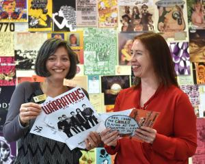 Hocken Library ephemera collection curator Katherine Milburn (left) and music and audio visual...
